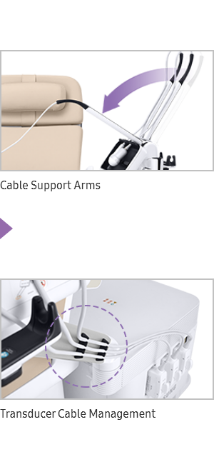 Cable Support Arms, Transducer Cable Management
