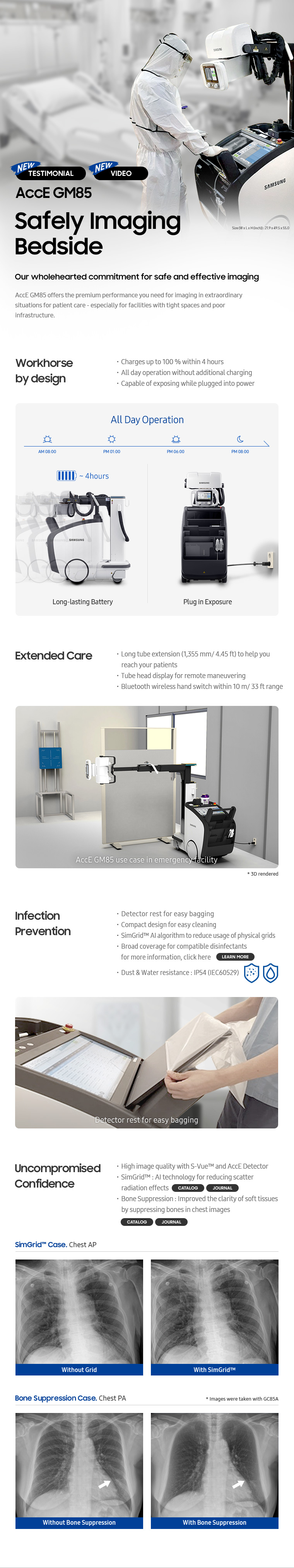 AccE GM85, Safely Imaging Bedside, Workhorse by design, Extended Care, Infection Prevention, Uncompromised Confidence